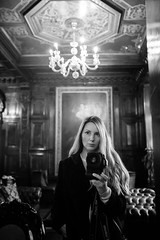 (Rebecca Skye Watson) Tags: selfportrait reflection throughthemirror oldbuildings london londoninterior chandelier blackandwhite