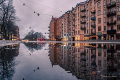 Finding my way home (Fredrik Lindedal) Tags: streetview street streetvision streetart streetsvision building city cityscape cityview puddle puddlegram water gothenburg göteborg