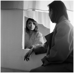 (Suharik moi) Tags: 120mm 6х6 mamiya bw film analog miror girl portrait