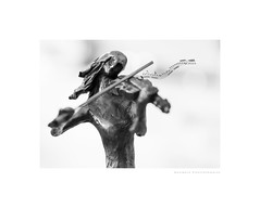 The fiddler (G. Postlethwaite esq.) Tags: bw dof macro unlimitedphotos blackandwhite bokeh bronze closeup depthoffield figurine monochrome musician photoborder selectivefocus stilllife