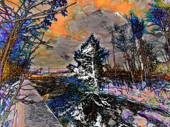 """""""Bond Waterfall in Distressed Glaze"""" [in Iron County of Michigan's Upper Peninsula] (Paul Ewing) Tags: awardtree digitalart digitalpainting iphoneography mobilephotography"""