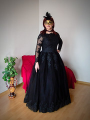 Mysterious Lady (blackietv) Tags: black tulle lace dress gown princess mask crossdresser tgirl crossdressing transgender