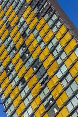 Yellow Blocks (Karen_Chappell) Tags: yellow blue windows building tilt angle architecture lasvegas nevada usa travel canonef24105mmf4lisusm glass steel skyscraper abstract geometry geometric city urban lines rectangle square