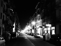 Night Turin winter street (VauGio) Tags: olympus tough4 notte night dark scuro biancoenero blackandwhite torino turin piedmont piemonte italy italia lacittàmetropolitanaditorinovistadavoi