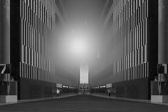 Panem et circenses (Le.Patou) Tags: lesud bouchesdurhône paca marseille abstraction fz1000 hss montage photomontage symmetry mirror vanishing point corridor light halo flare gray nb bw bnw blackandwhite architecture stadium