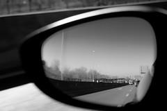 Mirror (Miguel Ángel Prieto Ciudad) Tags: day outdoors sky sunglasses reflection transportation closeup car cloud bnw blackandwhite monochrome mirror rearviewmirror sonyalpha alpha3000 mirrorless driving