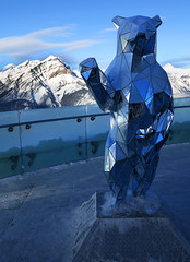 The Bear on the Mountain (Anthony Mark Images) Tags: bearonthemountain sulphurmountain mountains glassrailing sculpureofabear standingbear sculpture art mirrors mirroredbear outdoors outside winter prettyview banff banffnationalpark alberta canada bluesky nikon d850 flickrclickx cascademountain