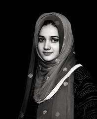 Simple yet elegant! (aimanraza) Tags: simple elegant aesthetic charming eyes belle girl beautifulportrait blackandwhite naturallight samyang85mm14umc scarf hijab