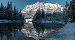 Hintersee, Ramsau, German Alps (F. Montino) Tags: ramsau alps alpen germany deutschland hintersee peaks snow winter panorama stitching color water mountain landscape hiking mountains polarizer