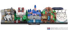 Lego Disneyland skyline [4] (BenBuildsLego) Tags: disney disneyland lego legos afol moc micro microscale castle space mountain monorail benbuildslego instructions millennium falcon smugglers run galaxys edge fantasy splash haunted mansion theme park toy toys