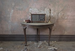 Listening station. (Ewski Images) Tags: sony rurex rural house classic vintage antique lamp books radio stereo exploration explore abandoned decay