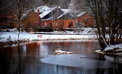 Frosty Stream (bjorbrei) Tags: water river stream shore trees oldbuildings brick snow ice frost winter reflections frysja kjelsås akerselva akerriver oslo norway brekkedammen brekkerstranda