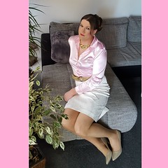 Pink mood (Rikky_Satin) Tags: pink silk satin blouse pencil skirt pantyhose pumps crossdresser crossdress crossdressing transvestite tgirl tgurl gurly sissy secretary
