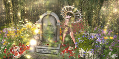 #168 - Her Little Piece of Spring (Yvain Vayandar) Tags: driftwood secondlife sl event fantasy magic medieval spring flowers colorfull warm fairy bonbon fallengodsinc sk {id}innerdemons fashiowl tmcreation moonsha happymood