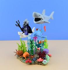 LEGO Ocean Master🐠 1/2 (Alex THELEGOFAN) Tags: lego legography minifigures minifigure minifig minifigurine minifigs minifigurines dc comics super villain ocean master water coral crab algae sea seashell shark fish dolphin rock