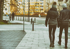 couples walking (margycrane) Tags: couple winter walking warsaw warszawa