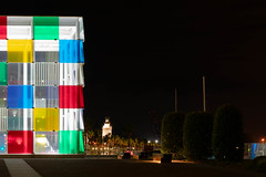The cube, Málaga (Black prism) Tags: longexposure málaga color wed08january2020 centrepompidou nightphotography 52weeksthe2020edition port colourful night lighthouse week22020 brightcolors hometown