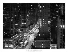 6th Avenue At Night (G Dan Mitchell) Tags: manhattan newyork city state sixth 6th 26th avenue street night scene lights urban aerial traffic hyatt house hotel usa north america monochrome blackandwhite