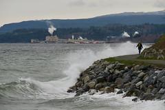 Waves crashing into the seawall (jackfate641) Tags: powellriver britishcolumbia seawalk seawall waves ocean nikond200