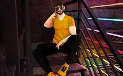 Club Kid (EnviouSLAY) Tags: club foxcity rainbow colorful black yellow sunglasses hx shirt mossu chinos noche sneakers fire flame socks versov beard magnificent barbershop belleza bento jake lelutka guy newreleases new releases clubscene scene secondlifefashion secondlifephotography tmd themensdepartment the mens department mensmonthly mensfashion mensfair mensevent monthlymen monthlyfashion monthlyfair monthlyevent monthly event fair fashion pale male gay lgbt blogger secondlife second life photography w