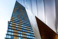 Overlapping (Karen_Chappell) Tags: lasvegas architecture pov up buildings steel glass abstract geometry geometric urban city usa travel nevada yellow blue lines canonef24105mmf4lisusm colour color