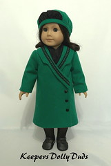 1927 Coat and Tam, made to fit American Girl Dolls, An Original KeepersDollyDuds Design (Keepersdollyduds) Tags: keepersdollyduds keepers tam coat wool buttons lace americangirldoll 18 doll lined kickpleat ruffle