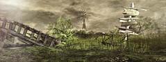 As In A Dream (Loegan Magic) Tags: secondlife landscape signpost signs bridge sky grass clouds windmill