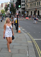 Green Light (Waterford_Man) Tags: girl mobile phone blonde street people path candid london