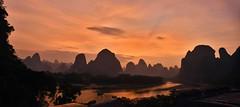 When dragons go to sleep (Ullsclucs) Tags: china sunset landscape nikon d7500 travel river karst panorama