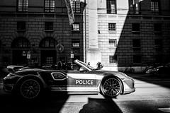 police (Lars Denker) Tags: bw sw black white police poser porsche albern shadow munich münchen