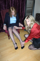 Secretary Sue trying to keep her boss Ms Thorne happy. (suedel36) Tags: pantyhose cd crossdressers tgirl tgurl gurl