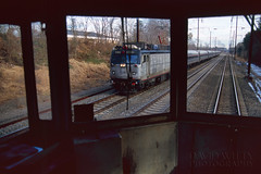 Regional Through The Windshield (DJ Witty) Tags: amtrak electriclocomotive railroad photography rr aem7 toaster meatball nikonf100 velvia fujichrome fujichromevelvia