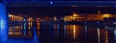 Le canal de Saint-Omer, vu du pont Mollien à Calais (pierre.pruvot2) Tags: calais night nuit canal channel towncenter city water eau panasonic sigma lumixg9 lumière light bleu blue panorama