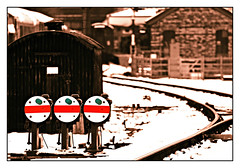 Three of a kind (david.hayes77) Tags: greatcentralrailway gcr wintergala loughborough charnwood leics leicestershire 2013 semaphores dolly dollies signals winter snow heritagerailway steam