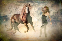 Lost In A Dream (larwbuck) Tags: animal artistic composite effects fantasy female horses model outdoors painterly textures