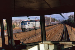 AEM7 950 Through The Windshield (DJ Witty) Tags: rr photography amtrak railroad electriclocomotive aem7 toaster meatball nikonf100 velvia fujichrome fujichromevelvia