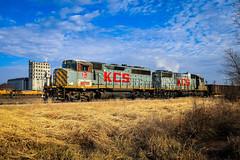 Gray and Yellow (BravoDelta1999) Tags: kansascitysouthern railroad kcs railway unionpacific up neff yard kansascity missouri emd gp402lw gp382 2904 2014 manifest train