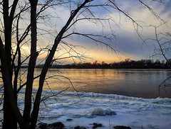 sunset reflections (angelinas) Tags: sunset reflections pastels water landscapes serene peaceful nature stillness solitude beautiful montreal quebec canada icy frozen winterscenes