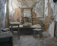 Cell with bed and stools (fotophotow) Tags: easternstatepenitentiary philadelphia