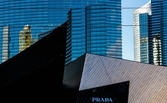 PRADA (Karen_Chappell) Tags: lasvegas travel nevada usa architecture lines angles abstract geometry geometric glass steel buildings blue black sign city urban reflections canonef24105mmf4lisusm