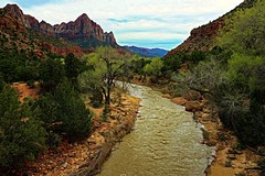 Picture Perfect Zion (Kamera Clips) Tags: river stream landscape mountain mountains rocks canyon zionnationalpark zion travel hiking sky skycolors people adventure utah photo photography landscapes painting amazing nature