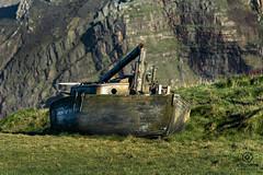 hartland 001 (kapper22) Tags: boat grass mast cliff rocks hartland uk sea coast yellow green blue orange sunny