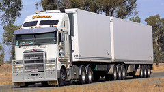 Only Mum Can Tell 'em Apart (2 of 2) (Jungle Jack Movements (ferroequinologist) all righ) Tags: identical twins kenworth kw kenny k200 finley sydney melbourne brisbane tull far north queensland qld nsw new south wales blemmers transport hp horsepower big rig haul freight cabover trucker drive carry delivery bulk lorry hgv wagon road highway nose semi trailer deliver cargo interstate articulated vehicle load freighter ship move motor engine power teamster truck tractor prime mover diesel injected driver cab cabin loud wheel exhaust double b australia australian