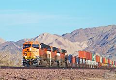 2017-02-13 Cadiz CA BNSF3768 ET44C4 (maximaguy97) Tags: train locomotive railroad diesel ge generalelectric bnsf burlingtonnorthernsantafe et44c4 gevo tieriv cadiz california desert cadizca stacktrain intermodal bnsf3768