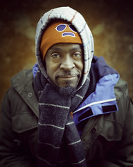 Carvelle (mckenziemedia) Tags: man portrait portraiture face smile hat hood coat scarf chicago city urban street streetphotography people humanity homeless homelessness