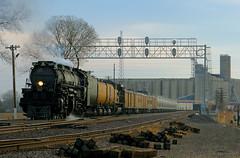 Big Boy with Freight! (Jeff Carlson_82) Tags: up uprr ks unionpacific kansassub signalbridge 4014 bigboy steamengine freight grainelevator topeka kansas excursion train railroad railfan railway