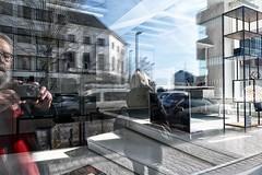 rugzijde (roberke) Tags: reflections reflecties reflectie people mensen huizen gebouwen street straat selfie selfportrait zelfportret sky lucht clouds wolken windows ramen vensters shop antwerp antwerpen belgium cars autos bomen trees sunlight zonnig