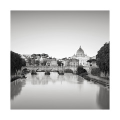 St Peter's Basilica (GlennDriver) Tags: black white bw mono long exposure italy rome city river water bridge architecture cathedral church buildings monochrome