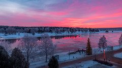 Sunrise in Ronaniemi Beautiful Colours (pboolkah) Tags: rovaniemi lappi finland canon canon5d canon5dmkiv sunrise water river sun clouds cloud tree snow snowcapped