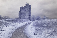 Donnington Castle in Infra-Red (TerryCym) Tags: donningtoncastle newbury englishheritage berkshire infrared canoneos20d donnington outdoors england outside ir72 2470 canon shaw winter hill gatehouse unlimitedphotos tree